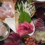 東池袋 魚金 - ×養殖魚の盛り合わせでした・・・バッテラ、インドマグロ、わらさ、すずき、カンパチ、真蛸、真鯛1280円