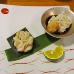 美味いもん屋 わ多なべ - 鱈キクの昆布〆と鱈キクポン酢