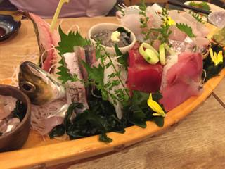 魚盛 浦和店 - お刺身・大漁七点盛り(アジ、マグロ、かさご、すずき、さごし、いなだ、ウマヅラハギ)