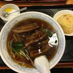 金縁 - 豚角煮麺+半炒飯@700円