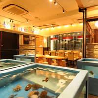 イカセンター新宿総本店 - 入り口のイケスにはイカのほかにも色々泳いでいます。