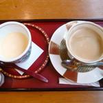 大自然 - 料理写真:杖立たまごプリン コーヒーセット¥600。甘めのプリンとほろにがいカラメルの相性は抜群!器も高級感があって素敵でした。