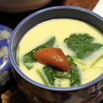 純和風旅館泉屋 - 【夕食】茶碗蒸し。コーンと麦が入っていて甘くて香ばしいです。トッピングは梅干し。不思議に合うのです!