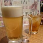 鳥げん - まずは、めぬーを背景に。サッポロ生とウーロン茶でカンパイ♪ 大量画像いきまっせー(^^)/