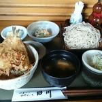 そばと膳 田川 - B.キス天丼とおそばのセット税込1080円 キス天丼、蕎麦大盛、味噌汁、御新香、ポテトサラダ、デザート