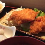 たしろ食堂 - 日替わりランチ650円(チキンカツ+ミートスパ)