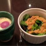 インド料理 想いの木 - ミニサラダとブルーベーリーアイス入りラッシー