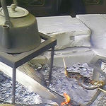 """毘沙門茶屋 - 朝早くから囲炉裏でじっくり焼き上げた魚は焼きと言うより""""燻製""""に近い香りとショック(食)感~"""