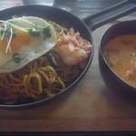 56115176 - 韓国風やきそばと豆乳スープ