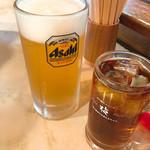 骨付鳥 たあちゃん - ビール大とウーロン茶