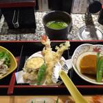 56131133 - 春雨サラダ 、天ぷら、かぼちゃの煮物 奥はお茶