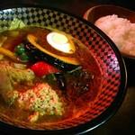 Supukariandohambagutatsuki - スープカレー海老味噌 豚キムチ角煮 1150円+ゴマ