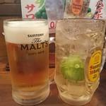欽ちゃん - ビールと、かぼすサワー