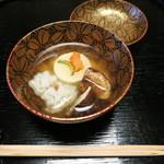 56149182 - お吸い物 十五夜を意識した胡麻豆腐、ハモ、松茸(2016年9月ディナー27000円)