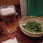56157817 - 生ビールと①枝豆