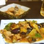 神月 - ナスの味噌炒めと色々魚の南蛮漬け