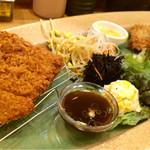 萬時 - 牛ヘレ&チーズ入豚カツ定食  1080円