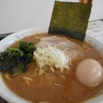 56173360 - ラーメン(醤油:中盛)+ランチセットA(煮玉子)」