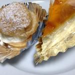 56173814 - スフレチーズケーキと生シュークリーム(各108円)