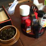 だご汁茶屋 - 卓上の薬味 壺には コンブ佃煮ですよ