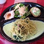 56188230 - 小松菜とベーコンのバジルクリーム