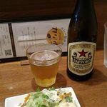 56203883 - ミニサラダと赤星ラガービール