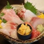 海鮮料理 沖菜 - お造り盛り合わせには美味しい生ウニが