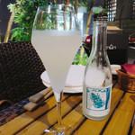 56219841 - 夏ヤゴ にごり酒~純米活性~                       海老名産 山田錦  泉橋酒造                       海老名は土壌が良く、トンボの聖地とも呼ばれているそうです。