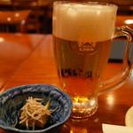 銀座ライオン 安具楽 - 良い酔いセット(税込1500円)の先付と中生ビール