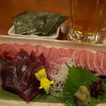 銀座ライオン 安具楽 - 断面鮪の贅沢食べ比べ 2680円+税(今回は無料)