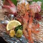 56229238 - お刺身の5点盛り@1580円                       真鯛、さんま、かんぱち、甘エビ、のどぐろ炙り