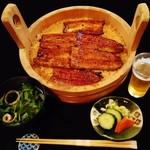 gionuokeyau - 『う桶(三人前)』『きも吸い』『漬物』付!!と『ビール』~♪(^o^)丿