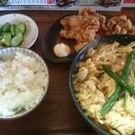 作左ェ門 - 唐揚げ定食 700円+麺大盛 50円