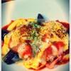 茄子とベーコンのピリ辛トマトソースドリア