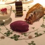フランス料理 レ・セレブリテ - パンナコッタ、チョコレート、安納芋のモンブラン シャーベット