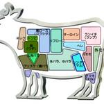 肉焼屋ワイン部 ジャストMEAT  - 牛肉の部位一覧(参考図)。「淡路ビーフ とうげ」のHPより。