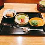 日本料理 太月 - 麦焦し葛餅、抹茶アイス、シャインマスカット、無花果、白ワインゼリー   2016-9