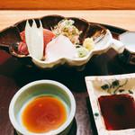 日本料理 太月 - 鰹、鯛 大葉、茗荷、はす芋添え 2016-9