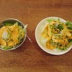 ナマステインドネパール料理 - 右:大人用サラダ 左:お子様セット用サラダ
