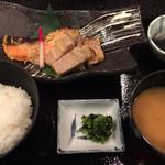 56254853 - 豚肉と信州サーモンの粕味噌焼き定食 ¥1700                       ご飯と味噌汁はお代わり可。