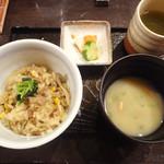 にかいのおねぎや 笹木 - ご飯、止め椀、漬物