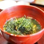 まめたん - 桜エビと花ニラの炊き込みご飯 2杯目はお茶漬け