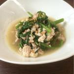 サイアムガーデン - 空芯菜炒め。これも豚肉たっぷり。