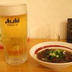 麺屋 無双 - 2016年9月 生ビールと牛スジ煮込み