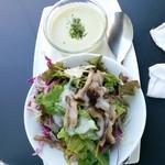56309449 - 丼ランチのスープとサラダ