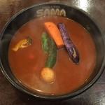 SAMA - ハンバーグスープカレー辛さ30番、1050円です。