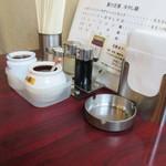56326292 - 自家製ラー油が二種類あります 同時に灰皿も・・・