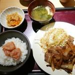 やまや - じっくりたれ漬け豚しょうが焼き定食(1000円)