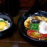麺屋 一矢 - とんこつ黒らーめん+卵かけご飯