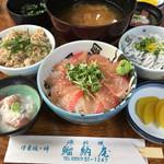 ぼら納屋 - 料理写真:金目鯛のづけ丼と二色丼